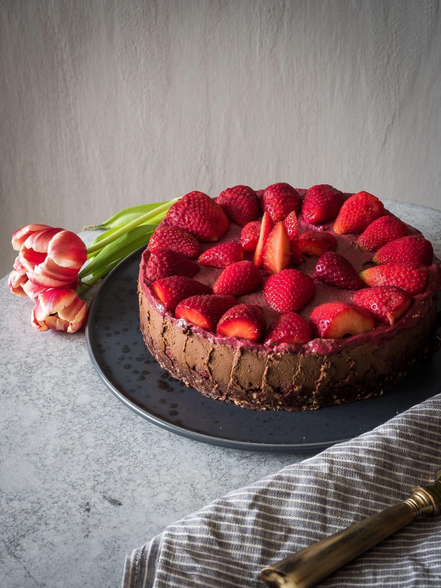 Schoko-Erdbeer No Bake Kuchen