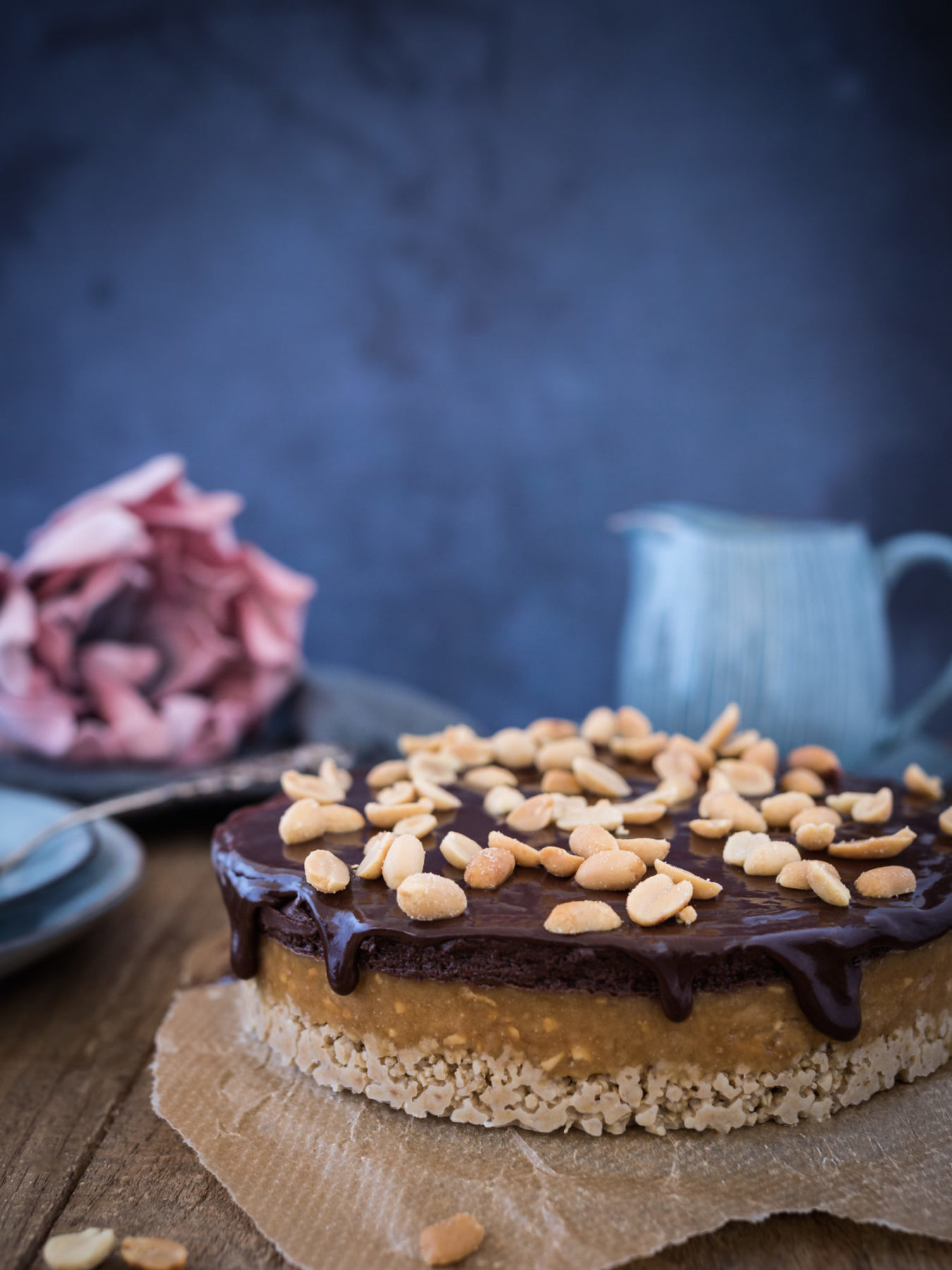 Erdnussbutter Schokoladen Torte mit frischkäse vegan, optional Glutenfrei