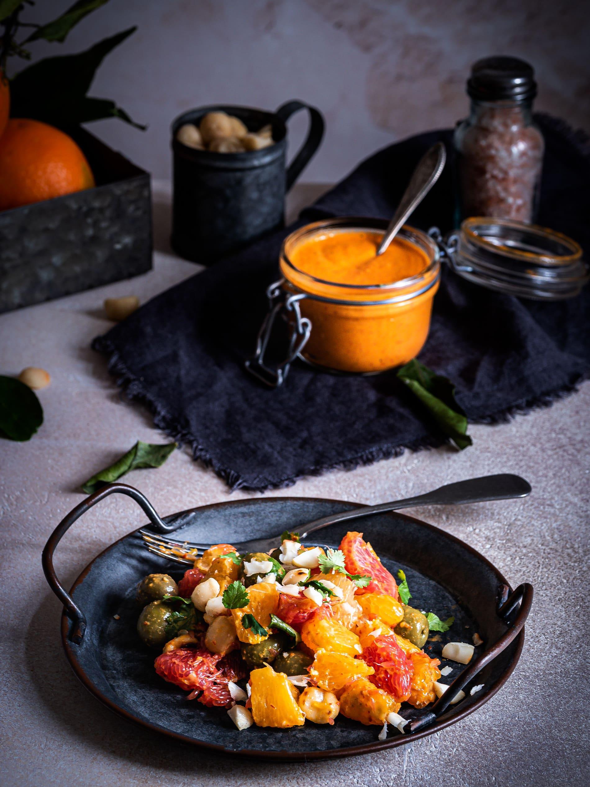 Harissa und Orangensalat als Vorspeise