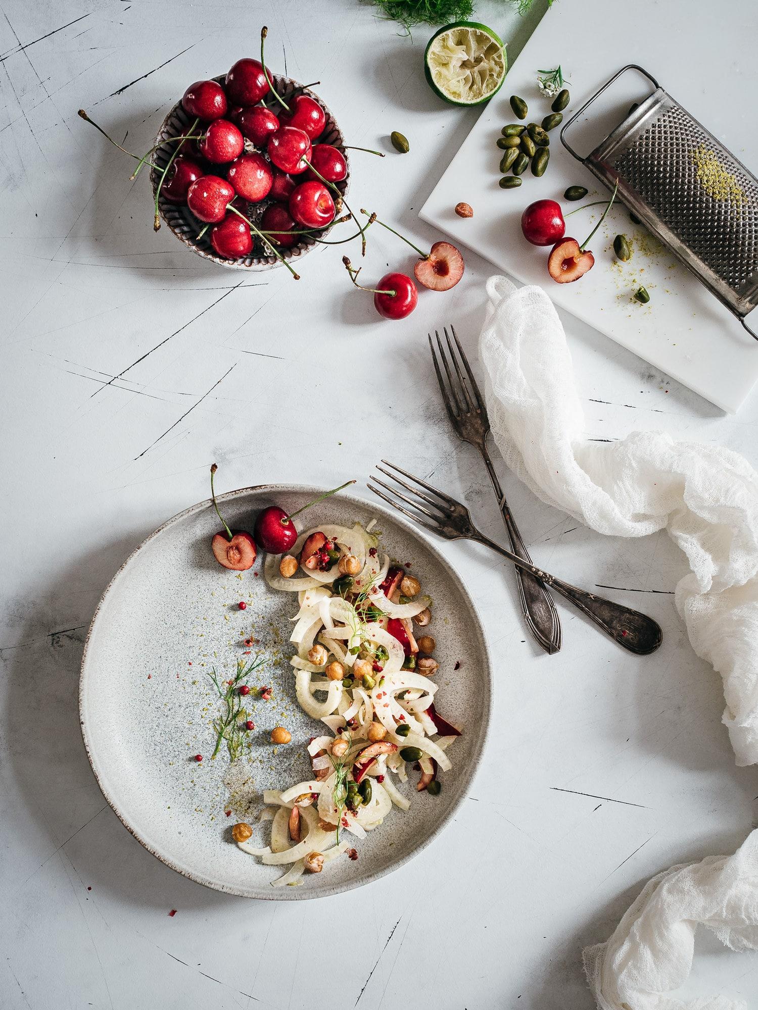 Fenchel Salat mit Kirschen