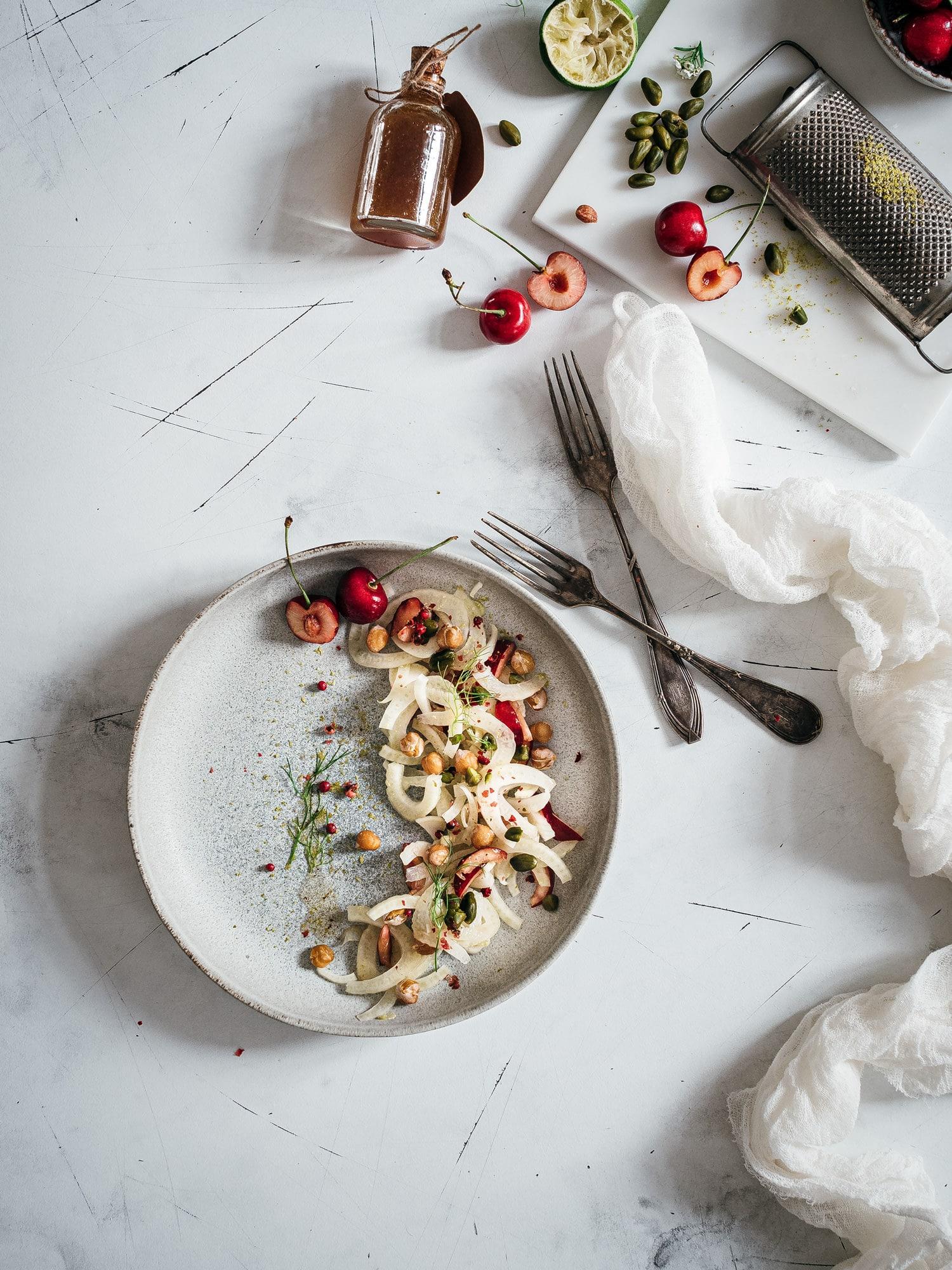 Fenchelsalat mit Himbeer-Limetten-Sumach Dressing