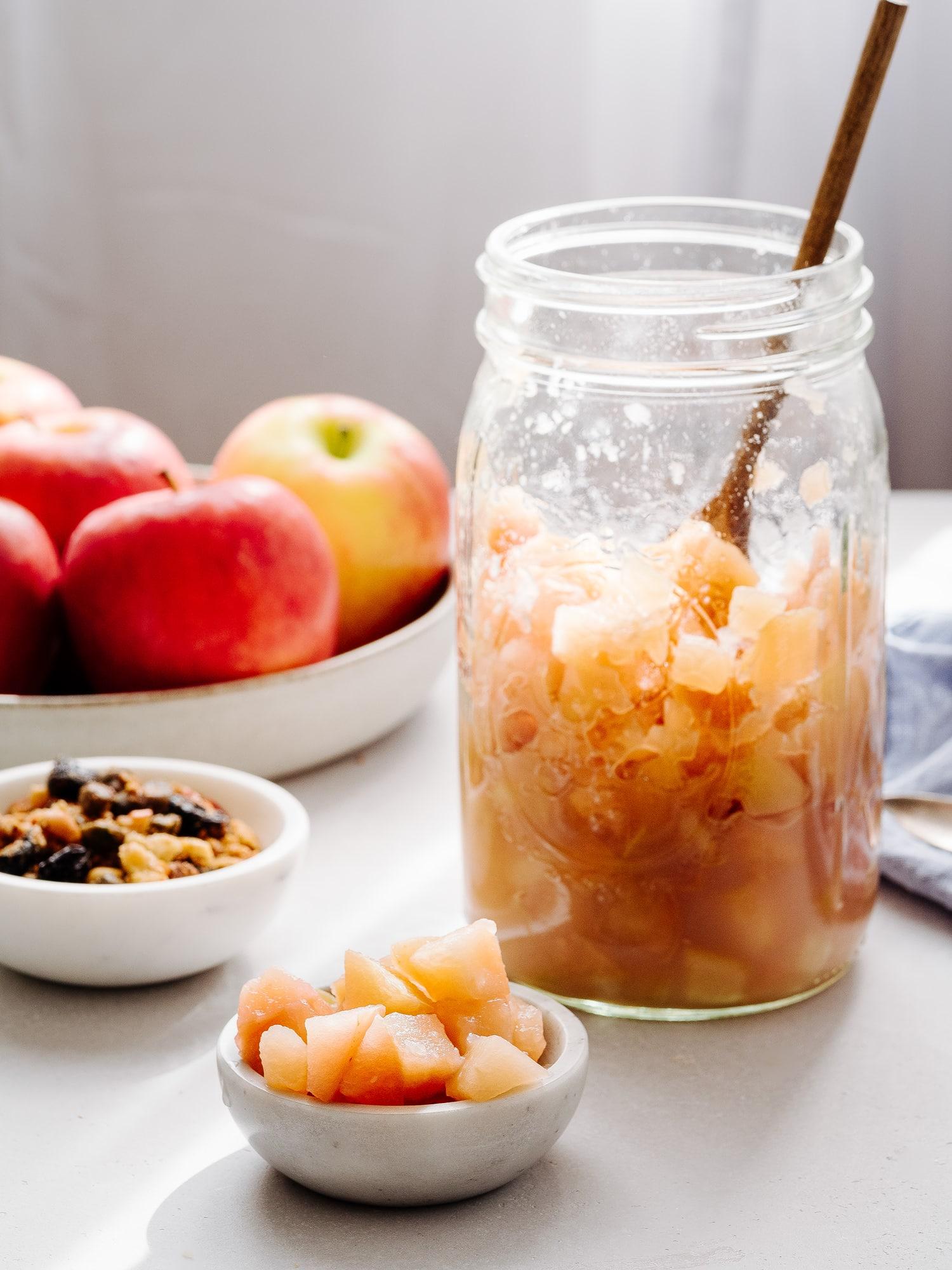 Schnelles Apfelkompott im Glas